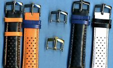 4 Colors 20mm Genuine Perforated Leather Rally Racing Strap & Rolex Buckle