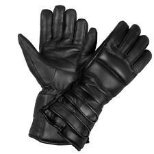 New Mens Thinsulate Sheep Leather Winter Motorcycle Biker Riding Gloves Black