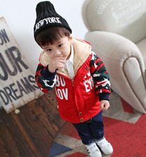 Boys Girl Hooded Fur Lined Patchwork Jacket Casual Camouflage Cotton Coat Jacket