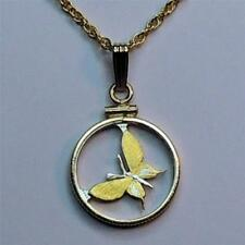 New Guinea 1 Toea Silver & 24 k Gold Plated (Cut Out Butterfly) Coin Necklace #3