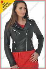 Women's Genuine Lambskin Leather Jacket Black Slimfit Biker Motorcycle Jacket 27