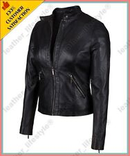 Women's Genuine Lambskin Leather Jacket Black Slimfit Biker Motorcycle Jacket 33