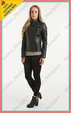 Women's Genuine Lambskin Leather Jacket Black Slimfit Biker Motorcycle Jacket 38