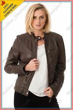 Women's Genuine Lambskin Leather Jacket Brown Slimfit Biker Motorcycle Jacket 50