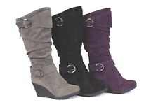 Womens Tall Grey/Black/Purple Wedge Faux Suede Slouch Boot Buckle Fashion NEW