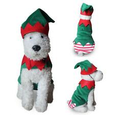 Unisex Christmas Elf Clown Dog Costume Scalloped Xmas Pet Apparel Hat Dreamed