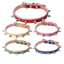 Spiked Studded Rivets Genuine Leather Small Dog Puppy Collars Soft for Chihuahua
