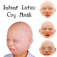 Halloween Costume Party Baby Mask Full Head Adults Latex Cry Baby Mask Amuse EB