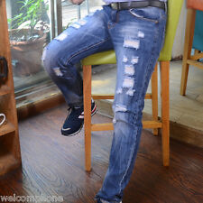 New Mens Fashion Cotton Pants Jeans Denim Washed Ripped Broken Hole Joggers