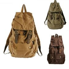 Men's Vintage Canvas Leather Hiking Travel Military Backpack Messenger Bag