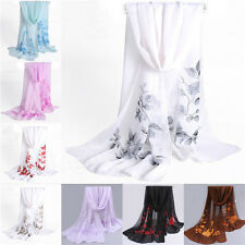 New Women Floral Chiffon Soft Neck Scarf Shawl Scarves Long Stole Wraps W141RU