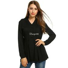 Women V-Neck Roll Up Long Sleeve Half Button Solid Pleated Tunic Tops UTAR