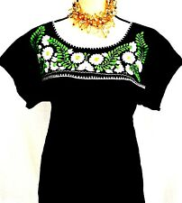 Embroidered MEXICAN Black/white/ BLOUSE Floral  Womens Top PEASANT Cotton Gauze