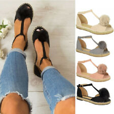 Womens Roma Flats Fish Mouth Sandals Ladies Summer Thick Bottom Beach Shoes Size