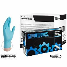 GLOVEWORKS Blue Nitrile Industrial Powdered Disposable Gloves, Case, 1,000 count