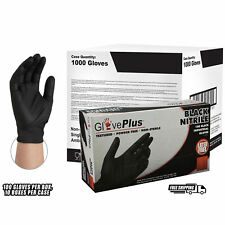 GlovePlus Black Nitrile Industrial Latex Free Disposable Gloves, Case, 1,000