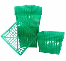 24-Pack Quart Size Plastic Berry Baskets; 5 ½-Inch Green Berry Boxes w/ Pattern;