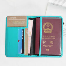 Men Women Leather Passport Holder ID Case Credit Card Holder Travel Wallet Purse
