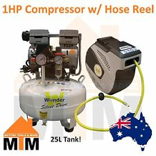 WONDER 1HP 750W Oil Less Free Silent Quiet Air Compressor + Hose Reel
