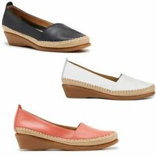 HUSH PUPPIES WOMENS TUNE NAVY CORAL LEATHER LADIES WEDGES WEDGE FLATS SHOES