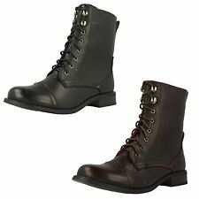 Ladies Spot On Military Style Lace Up Boots F50270