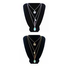 Multi Layer Boho Gypsy Turquoise Beads Feather Pendant Necklace Choker Chain