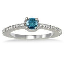 1/2 Carat TW Blue and White Diamond Ring in 10K White Gold