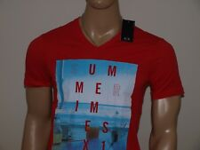 Armani Exchange Authentic Summertime Logo V Neck T Shirt Red NWT