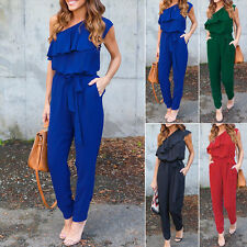 Women Jumpsuit One Shoulder Romper Long Pants Trousers Chiffon Playsuit Summer