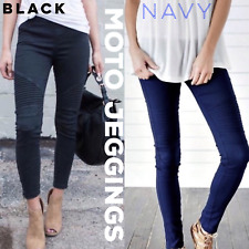 Black Navy Moto Jeggings With Ankle Zipper Stretch Skinnies Skinny Jean Leggings
