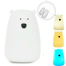 Children Baby Bedroom Night Lamp Cute Bear Silicone LED Night Light Nursery Lamp