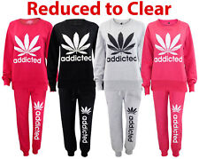 New Ladies Full Tracksuit Sweatshirt Addicted Top Pocket Bottom Women Jogger Set