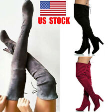US Women Over Knee Stretch Thigh Pumps High Heels Boot Zip Party Club Shoes Size