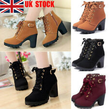 UK Women's Block High Heel Lace Up Ankle Boots Zipper Casual Platform Shoes Size