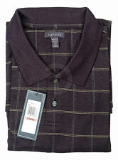 New Mens Van Heusen Polo Shirt Short Sleeve Golf Black Plaid  XL