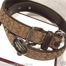 NEW COACH CLASSIC BROWN  SIGNATURE LEATHER XS M DOG COLLAR  CHOCOLATE