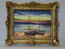Beautiful Painting Pictures Baroque Antique Repro Frame Sail Boat 56x46cm 113