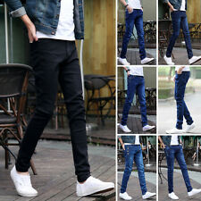 Stylish Mens Slim Straight Washed Denim Pants Pencil Trousers Casual Jeans Hot