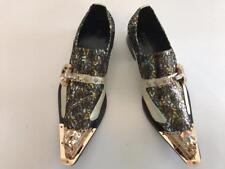 Men's Fiesso Gold Fashion Entertainer Pointed Gold Metal Tip Shoes FI 7013