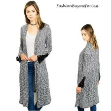 Haute BOHO Open Front Slub Knit Woven Tweed Hippie Long Sweater Cardigan S M L