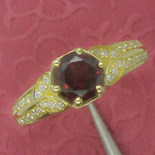 6.0mm Round Cut 14K 585 Yellow Gold Natural Garnet Natural Diamonds Ring