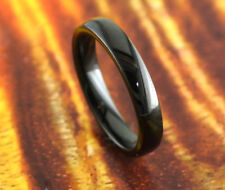 Black Tungsten Wedding Band 4mm-Engagement,Shiny,Comfort Fit,High Polish,Dome