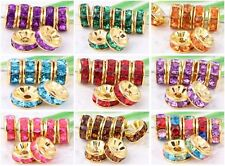 100Pcs Gold Plated Crystal Loose DIY Spacer Beads For Jewelry Making 8x4mm