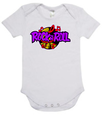 Rock n Roll logo on baby short sleeve cotton one piece romper onesey