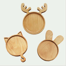 Wood Serving Plate Divided Tray Food Fruit Bakery Kitchen for Kids 3 Styles