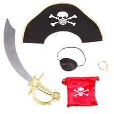 Kids Pirate Sword Eyepatch Earring Hat Bag Set Fancy Dress Costume Accessory