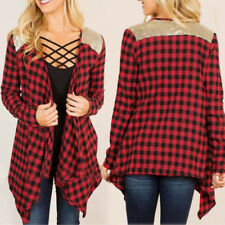Autumn Women's Casual loose Checked Long Sleeve Shirt Blouse Outerwear Tops 2017