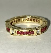 BEAUTIFUL 14K GOLD 1.0 TCW NATURAL BLOOD RED RUBY ENGAGEMENT BAND, SZ 5.75