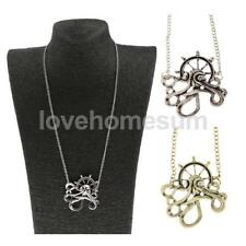 Vintage Lady Gothic Steampunk Octopus Pendant Long Chain Silver Bronze Necklace