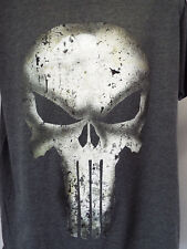 Punisher T-Shirt Marvel Comics Gray HEATHER Men's T-SHIRT! DISTRESSED SKULL NEW!